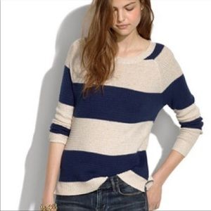 MADEWELL leafstitch crew neck stripe sweater